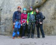 Unser Team vor dem ersten Mutausbruch, am Einstieg der Häntzschelstiege