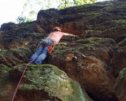 Giesensteinwand, Alter Weg, senkrecht und teils knifflig, eher schwerer als I