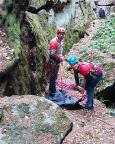 Vorbereitungen für den Aufstieg über den Alten Weg III auf den Brandstein
