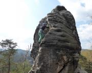 Almuth im oberen Drittel der Gamrigscheibe, dort ist das Schwerste geschafft