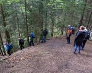 Der steile Abstieg vom Alten Wildenstein in Richtung Beuthenfall