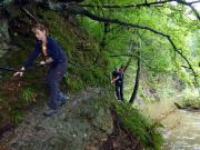 Die einzige sehr anspruchsvolle Stelle zwischen Ostrauer und Mittelndorfer Mühle, leichte Klettereinlagen