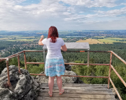 Am Aussichtspunkt auf dem Felsentor an der Töpferbaude
