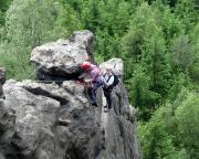 Im Klettersteig Alpiner Grat bei Oybin