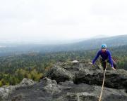 Rübezahlwand, Almuth im Ausstieg auf den tollen Aussichtsgipfel