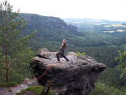 Rübezahlturm, Dirk Wiesner nach dem Sprung 1 auf den Gipfel