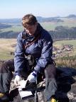 Zschirnsteinwächter, auf dem Gipfel mit Blick auf Kleingießhübel