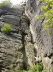 Abratzkykamin, einzige erlaubte Kletterei an der Festung Königstein