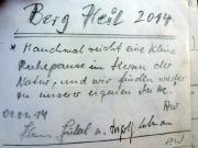Papststein, Gebiet der Steine, Gipfelbuchspruch für das Jahr 2014