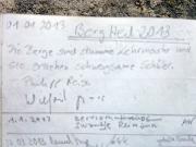 Polenztalwächter, Brandgebiet, Gipfelbuchspruch 2013