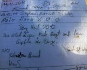 Neurathener Felsentor, Rathener Gebiet, Gipfelbuchspruch 2012