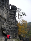 Kleiner Edelweißturm, Alter Weg, III, Spreize am Gipfelausstieg