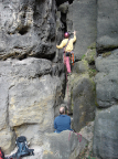 Pechofenstein in den Bärenfangwänden, Einstieg  Schluchtweg III