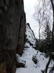 Wartburg, Alter Weg II, vom Einstieg aus gesehen im tiefsten Winter