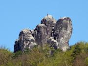 Mönch, mit Teleobjektiv vom gegenüberliegenden Elbufer gesehen