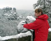 Gansfelsen, Winterstimmung, eingefangen von der Basteibrücke