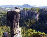 Wehlnadel, hier in der großen Kulisse der Felsen an der Basteibrücke