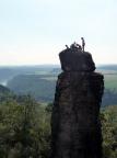 Kletterer auf dem Gipfel Tante, aufgenommen vom Vorderen Torsteinkegel