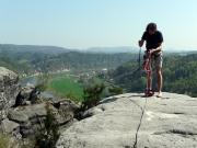 Tümpelgrundwand, auf dem Gipfel, Blick zur Wetterwarte