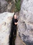 Wildensteinscheibe, der enge Kaminausstieg des Alten Weges III
