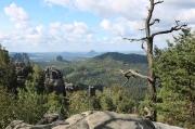 23 - Blick vom Carolafelsen in den Affensteinen, Sächsische Schweiz, nach Durchsteigung der Häntzschelstiege