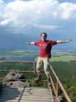Aussichtspunkt auf dem Felsentor, Töpferbaude, Blick auf Zittau